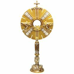 Picture of Church Monstrance with lunette H. cm 70 (27,6 inch) Angels bicolour brass Ostensorium for Holy Host Exposition