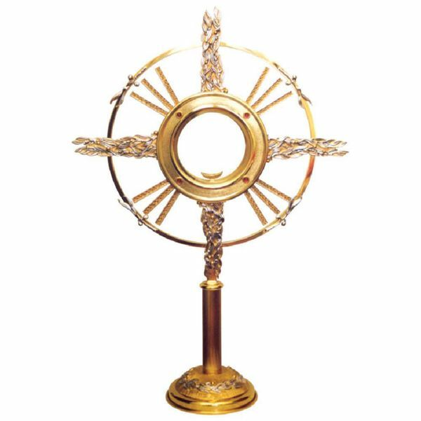Picture of Church Monstrance with lunette H. cm 80 (31,5 inch) with stones Olive Trees and stones bicolour brass Ostensorium for Holy Host Exposition