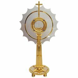 Picture of Church Monstrance with lunette H. cm 63 (24,8 inch) with small shrine brass and Plexiglass Ostensorium for Holy Host Exposition