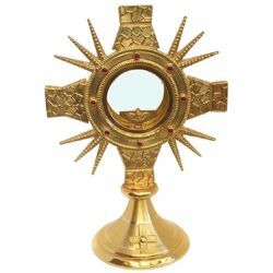 Picture of Church Monstrance with lunette H. cm 31 (12,2 inch) Cross gold plated brass Ostensorium for Holy Host Exposition