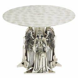 Immagine di Tronetto Base per Ostensorio H. cm 16 (6,3 inch) Angeli in ottone bicolore Supporto Espositore