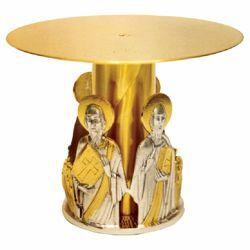Immagine di Tronetto Base per Ostensorio H. cm 15 (5,9 inch) Quattro Evangelisti in ottone bicolore Supporto Espositore