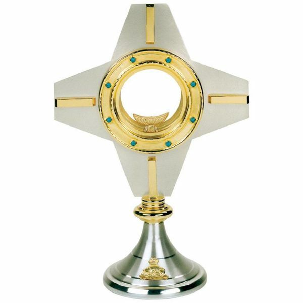 Picture of Church Monstrance with lunette H. cm 35 (13,8 inch) brass Ostensorium for Holy Host Exposition