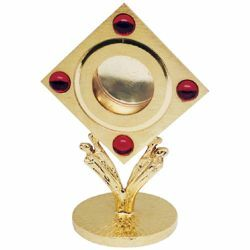 Picture of Liturgical Reliquary H. cm 11,5 (4,5 inch) with red stones Angels and red stones brass Monstrance style custody container for Church relics