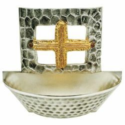 Picture of Holy Water Stoup H. cm 15 (5,9 inch) golden Cross brass Wall mounted Catholic Font