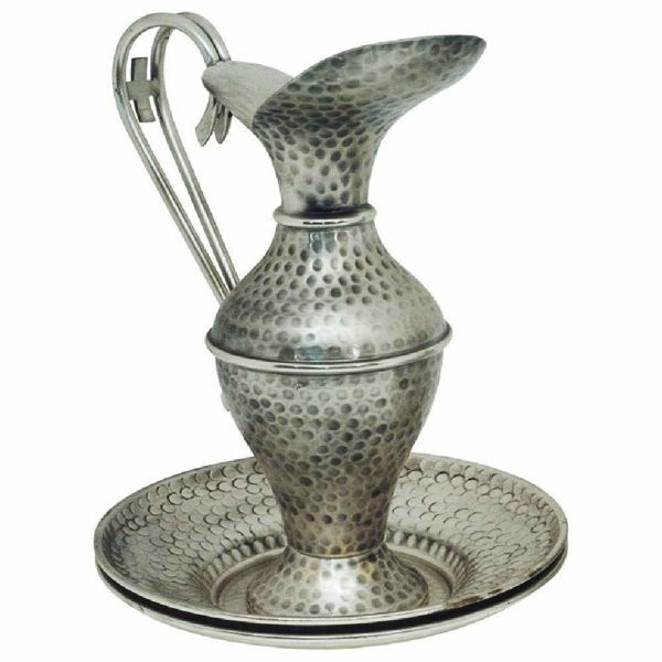 Picture of Liturgical Ewer & Plates H. cm 32 (12,6 inch) Cross hammered brass Jug Pitcher & Basin Mass Lavabo Set for Church