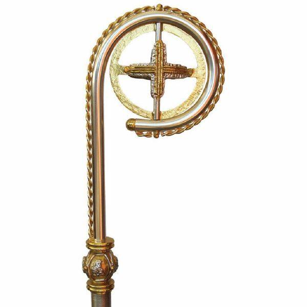 Immagine di Bastone Pastorale in ottone con Croce ed Evangelisti