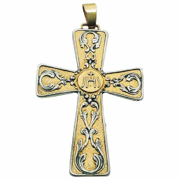 Imagen de Cruz pectoral episcopal cm 7x10 (2,8x3,9 inch) Símbolo IHS de latón bicolor para obispo