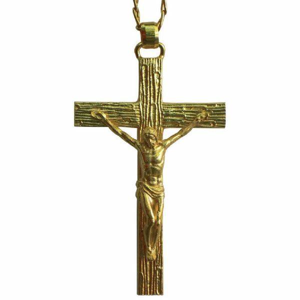 Imagen de Cruz pectoral episcopal cm 6x10 (2,4x3,9 inch) Cristo de latón para obispo