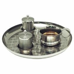 Picture of Baptism Set tray bowl oil stock ablution cup cm 23 (9,1 inch) satin brass full Liturgical Baptismal service