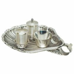 Picture of Baptism Set tray bowl oil stock ablution cup cm 25x21 (9,8x21 inch) brass full Liturgical Baptismal service