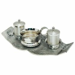 Picture of Baptism Set tray bowl oil stock ablution cup cm 26x13 (10,2x5,1 inch) Crosses brass full Liturgical Baptismal service