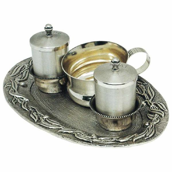 Picture of Baptism Set tray bowl oil stock ablution cup cm 22x14 (8,7x5,5 inch) Olive Branches brass full Liturgical Baptismal service