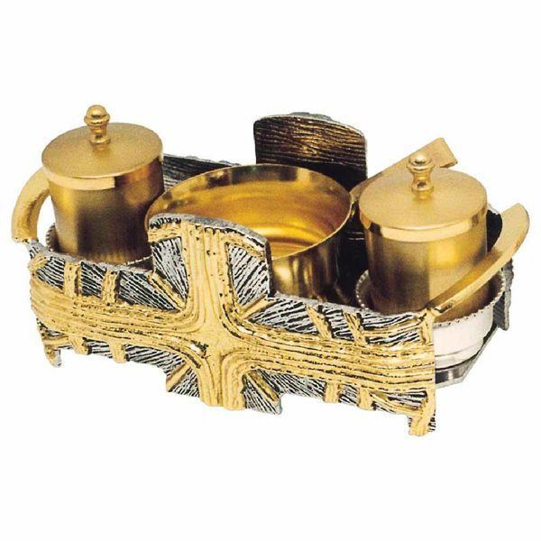 Picture of Baptism Set tray bowl oil stock ablution cup cm 19x9 (7,5x3,5 inch) Cross and Rays of Light bicolour brass full Liturgical Baptismal service