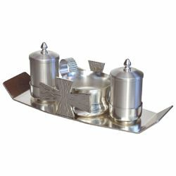 Picture of Baptism Set tray bowl oil stock ablution cup cm 24x9 (9,4x3,5 inch) Crosses brass full Liturgical Baptismal service
