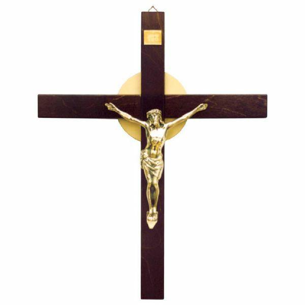 Imagen de Cruz de pared cm 36x46 (14,2x18,1 inch) Símbolo INRI de madera Crucifijo de muro para Iglesia