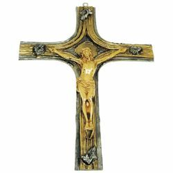 Picture of Wall mounted Cross cm 27x37 (10,6x14,6 inch) Body of Christ bicolour brass Crucifix for Church