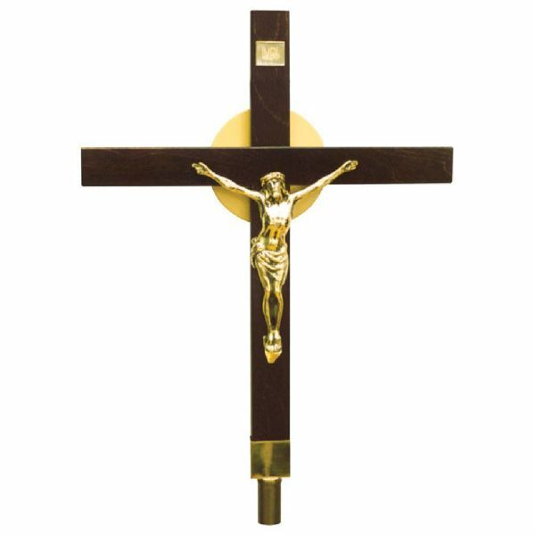 Picture of Processional Cross cm 36x46 (14,2x18,1 inch) Christ brass Crucifix for Church Procession