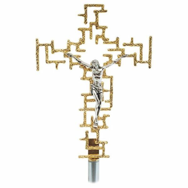 Picture of Processional Cross cm 24x34 (9,4x13,4 inch) modern style with grids brass Crucifix for Church Procession