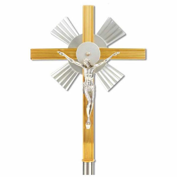 Picture of Processional Cross cm 25x33,5 (9,8x13,2 inch) bicolour brass Crucifix for Church Procession