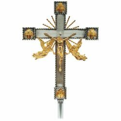 Picture of Processional Cross cm 32x42 (12,6x16,5 inch) Angels and Evangelists bicolour brass Crucifix for Church Procession