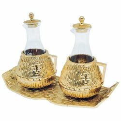 Picture of Altar Cruets and Tray set cm 21x9,5 (8,3x3,7 inch) Crosses glass and brass Water and Wine liturgical Mass Ampoules Catholic Church