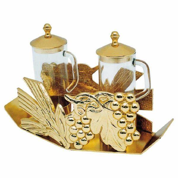Imagen de Juego Vinajeras litúrgicas de Misa cm 20x8,5 (7,9x3,3 inch) Uvas y Espigas de cristal y latón Conjunto completo Bandeja jarras Iglesia