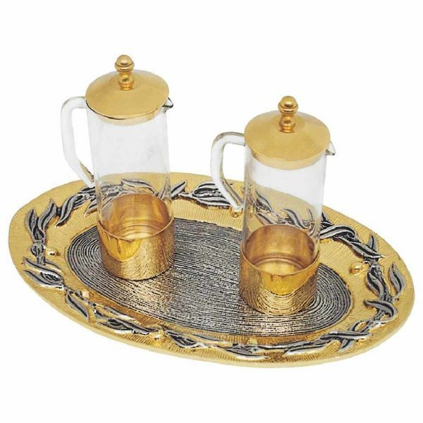 Picture of Altar Cruets and Tray set cm 21x14 (8,3x5,5 inch) Olive Branches glass and brass Water and Wine liturgical Mass Ampoules Catholic Church