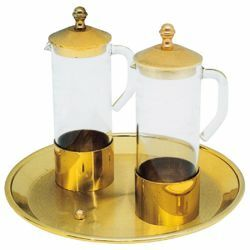 Picture of Altar Cruets and Tray set Diam. cm 15 (5,9 inch) glass and brass Water and Wine liturgical Mass Ampoules Catholic Church