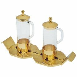 Picture of Altar Cruets and Tray set cm 23x8,5 (9,1x3,3 inch) stylized Crosses glass and brass Water and Wine liturgical Mass Ampoules Catholic Church