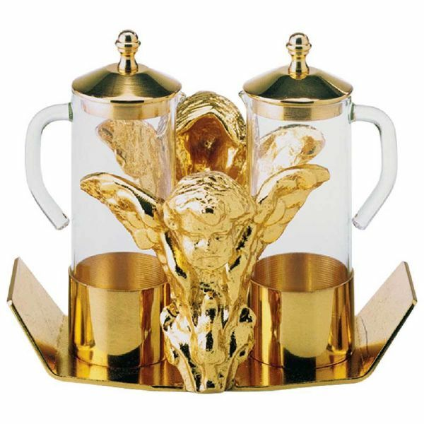 Picture of Altar Cruets and Tray set cm 16x14 (6,3x5,5 inch) Angels glass and brass Water and Wine liturgical Mass Ampoules Catholic Church