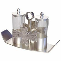 Picture of Altar Cruets and Tray set cm 19x7,5 (7,5x3,0 inch) silver Crosses glass and brass Water and Wine liturgical Mass Ampoules Catholic Church