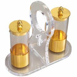 Picture of Altar Cruets and Tray set cm 16x7 (6,3x2,8 inch) Plexiglass and brass Water and Wine liturgical Mass Ampoules Catholic Church