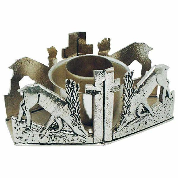 Imagen de Candelero litúrgico de Altar 1 vela H. cm 7 (2,8 inch) Ciervos en la Fuente de latón Portavela de Mesa Iglesia