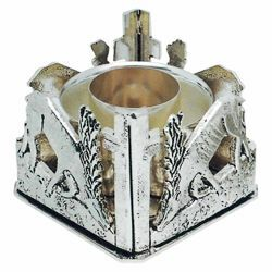 Picture of Altar Candlestick 1 flame H. cm 7 (2,8 inch) Deers at Spring brass liturgical Candle Holder for Church