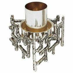 Picture of Altar Candlestick 1 flame H. cm 10 (3,9 inch) modern style with grids brass liturgical Candle Holder for Church