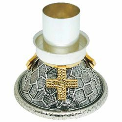 Picture of Altar Candlestick 1 flame H. cm 11 (4,3 inch) modern style bicolour brass liturgical Candle Holder for Church