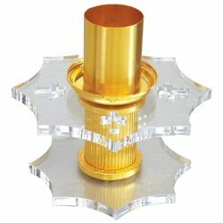 Picture of Altar Candlestick 1 flame H. cm 13 (5,1 inch) Crosses Plexiglass liturgical Candle Holder for Church