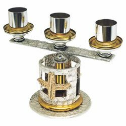 Picture of Altar Candelabrum 3 flames H. cm 20 (7,9 inch) Crosses bicolour brass Candle Holder liturgical Church Candlestick