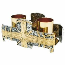 Picture of Altar Candelabrum 2 flames H. cm 7 (2,8 inch) Cross and Rays of Light bicolour brass Candle Holder liturgical Church Candlestick