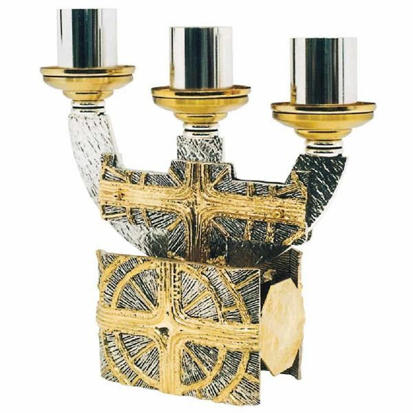Picture of Three flames Candelabra in brass with Crosses and Rays of Light