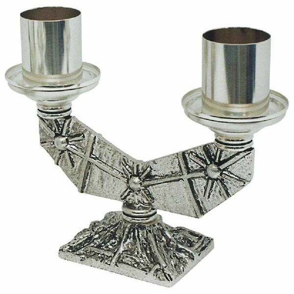 Picture of Altar Candelabrum 2 flames H. cm 17 (6,7 inch) Crosses and Stars brass Candle Holder liturgical Church Candlestick