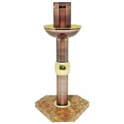 Picture of Paschal Candle Holder H. cm 75 (29,5 inch) on red marble base brass tall Floor Candlestick Church Stand
