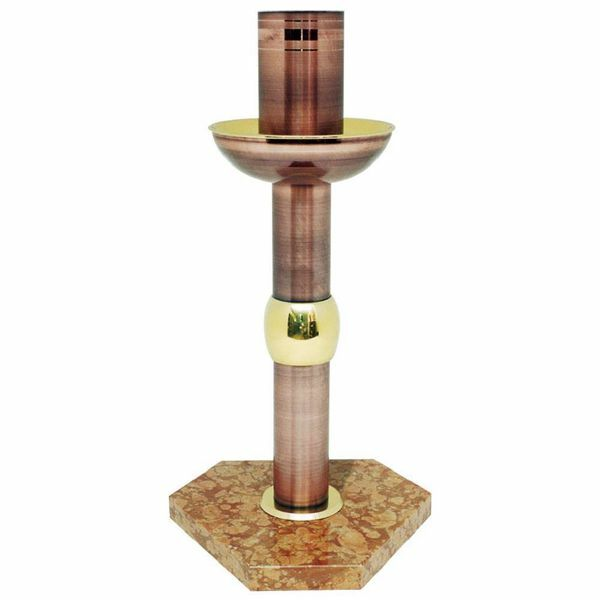 Imagen de Portacirio Pascual de pie alto H. cm 75 (29,5 inch) con base de mármol rojo de latón Base candelero para Cirio Iglesia