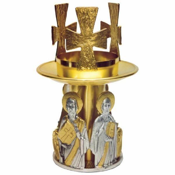 Imagen de Lámpara de mesa Santísimo Sacramento H. cm 23 (9,1 inch) Evangelistas de latón bicolor porta vela de Altar Iglesia