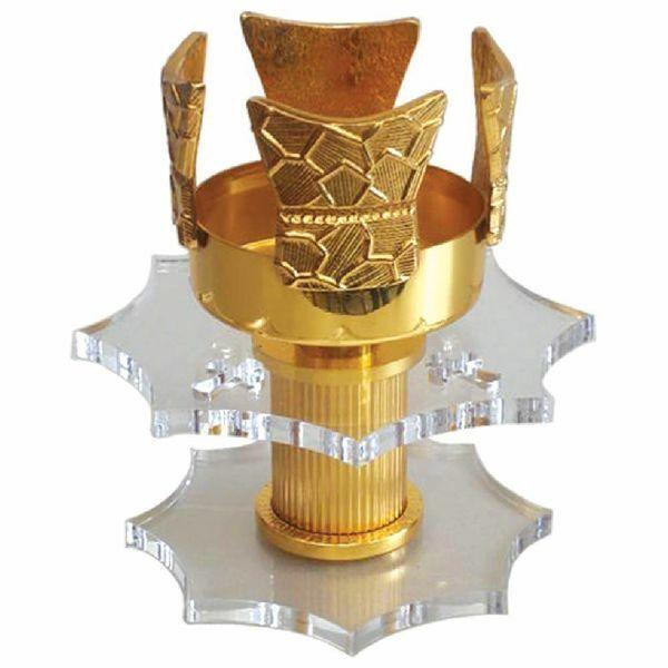 Imagen de Lámpara de mesa Santísimo Sacramento H. cm 15 (5,9 inch) de Plexiglass y latón porta vela de Altar Iglesia