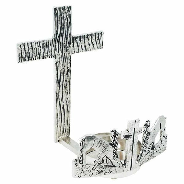 Picture of Wall mounted Sanctuary Lamp Blessed Sacrament H. cm 21 (8,3 inch) Deers at Spring brass Altar Chancel lamp for Church