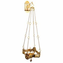 Picture of Hanging Sanctuary Lamp Blessed Sacrament H. cm 80 (31,5 inch) gold Crosses brass Altar Chancel chain lamp for Church