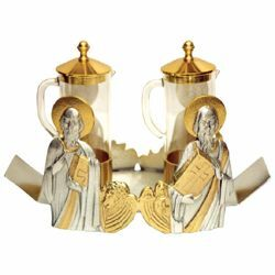 Picture of Altar Cruets and Tray set cm 19x9 (7,5x3,5 inch) four Evangelists glass and bicolour brass Water and Wine liturgical Mass Ampoules Catholic Church