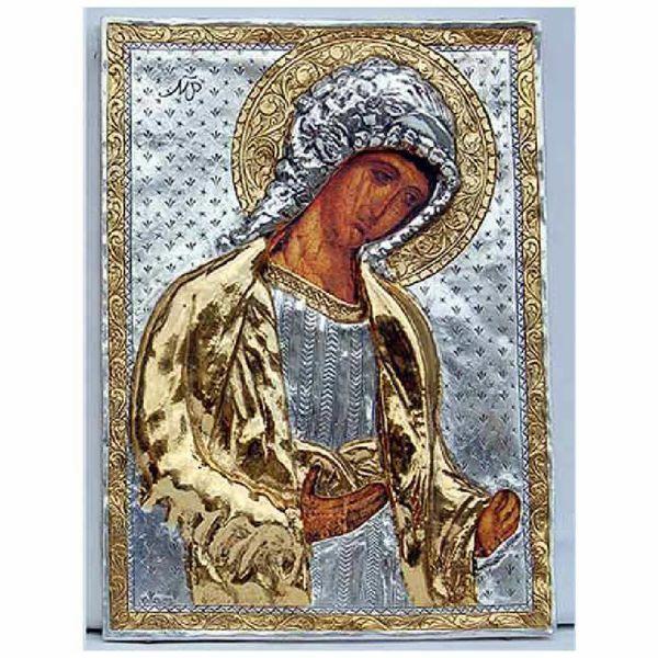 Immagine di Icona Arcangelo Michele, bagno argento, rifiniture in oro